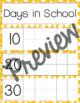 Days in School- Calendar Ten Frames (Yellow Stars)