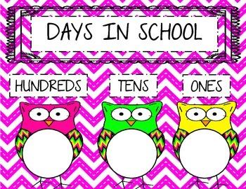 Days in School Chart- Owl Theme