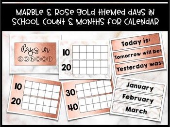 days in school count calendar months marble rose gold themed