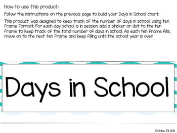 Days in School Ten Frame Chart