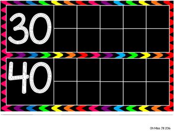 Days in School Ten Frame Chart - Rainbow Chevron