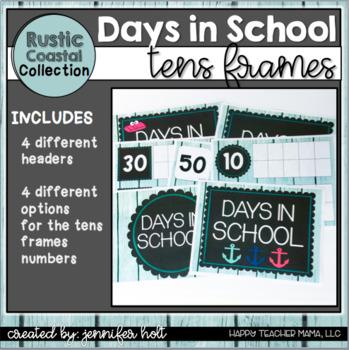 Days in School Tens Frames (Rustic Coastal)