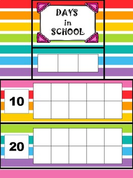 Days in school ten frames with place value-rainbow horizontal stripe