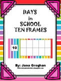 Days in school ten frames with place value-rainbow horizon
