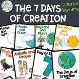 Days of Creation Color Banners with Bible verse and Melonheadz clip art