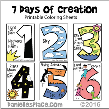Days of Creation Coloring Sheets