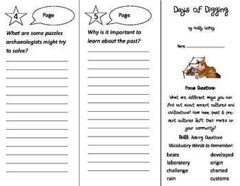 Days of Digging Trifold - Imagine It 3rd Grade Unit 5 Week 2