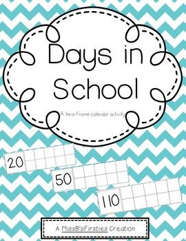 Days in School- Calendar Ten Frames (Aqua Chevron)