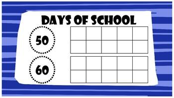 Days of School Countdown Ten Frames-Blue & Orange
