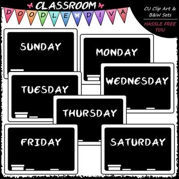 Days of The Week Blackboards Clip Art - Chalkboards Clip Art