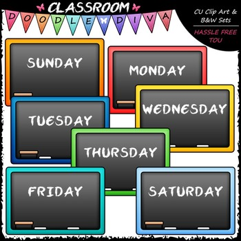 Days of The Week Blackboards Clip Art - Chalkboards Clip Art