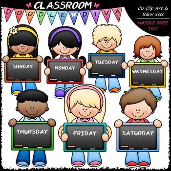 Days of The Week Kids - Clip Art & B&W Set
