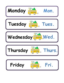Days of The Week & Months of The Year Abbreviations Word Wall / Vocabulary Cards