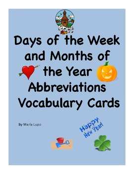 Days of The Week & Months of The Year Abbreviations Word W