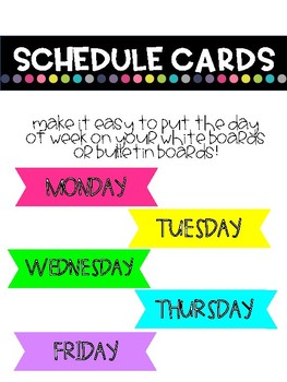 Days of The Week Schedule Cards