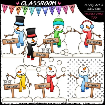 Days of The Week Snowmen - Clip Art & B&W Set