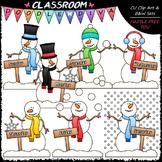 Days of The Week Snowmen - Clip Art & B&W Set