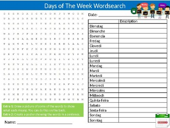 Days of The Week Wordsearch Sheet Starter Activity Keywords World Languages