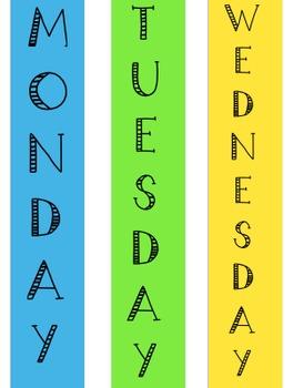 Days of Week Binder / Storage Labels