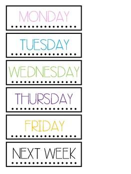 Days of Week Labels Freebie