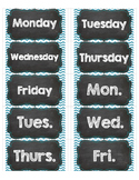 Days of Week Labels for Avery 5163 Shipping (Teal, Chalkboard)
