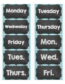 days of week labels for avery 5163 shipping teal chalkboard tpt