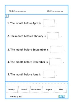 Days of Week Months of Year Life Skills Autism Special Education
