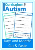 Days of Week Months of Year Autism Life Skills