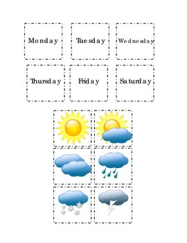 Days of Week Months of Year Weather Cut Paste Match Kindergarten Autumn Summer