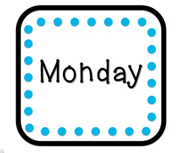 Days of Week Table Signs