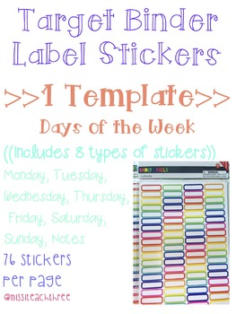 Days of Week Stickers (Target Binder Label Template)