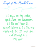 Days of the Month Poem Printable