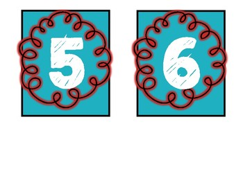 Days of the Month Signs - Red and Turquoise