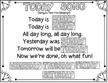 Days of the Week (2 Pocket Chart Activities/Songs)