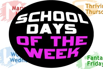 FREE Colorful Word Art Days of the Week Blends Blending
