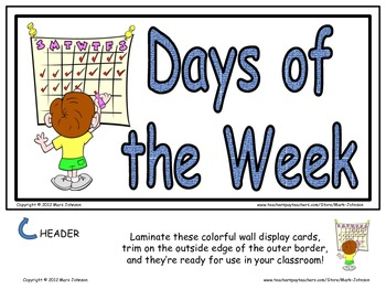Days of the Week  8 Piece Wall Display