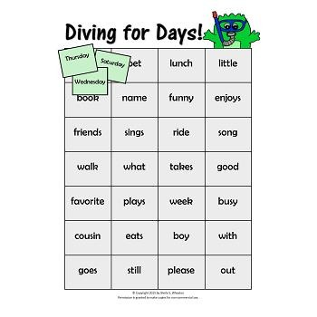 Days of the Week:  A Working Words Packet for Young Readers