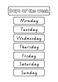 Days of the Week A4 Poster labels