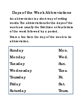 Days of the Week Abbreviations Critical Thinking Literacy Reading English 2pages