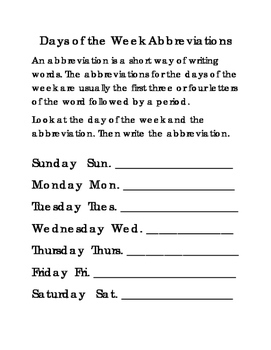 Days of the Week Abbreviations ELA Literacy Reading English 2pages