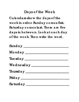 Days of the Week Abbreviations ELA Literacy Reading Englis