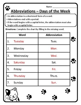 Days of the Week Abbreviations Worksheet Abbreviations Week Days Abbreviations 5