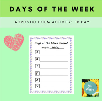 Days of the Week Acrostic Poem: Friday