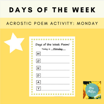 Days of the Week Acrostic Poem: Monday