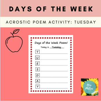 Days of the Week Acrostic Poem: Tuesday