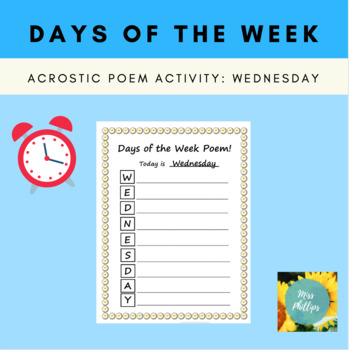 Days of the Week Acrostic Poem: Wednesday