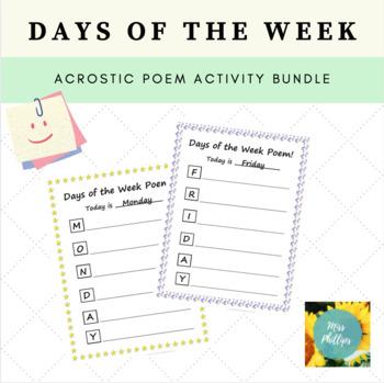 Days of the Week Acrostic Poems Bundle