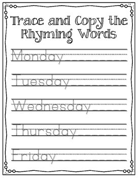 Days of the Week Activity Sheets. Great for review!!