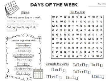 days of the week activity worksheet by tatiana tpt. Black Bedroom Furniture Sets. Home Design Ideas