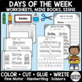 Days of the Week • Worksheets, Mini Books • Color Cut Glue